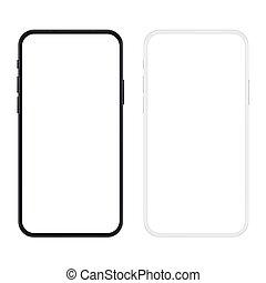 version, smartphone, nouveau, screen., noir, réaliste, vecteur, illustration., vide, mince, blanc