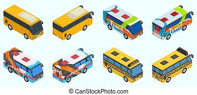 versions, autobus, sélection, différent, grand