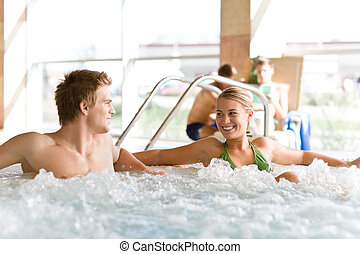 verslappen, paar, -, hete kuip, pool, zwemmen