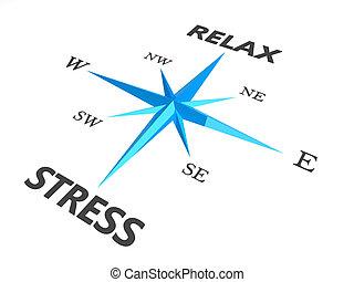 verslappen, stress, en, verslappen, woorden, op, kompas, conceptueel beeld