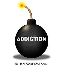 verslaving, bom, optredens, afhankelijkheid, obsessie, en,...