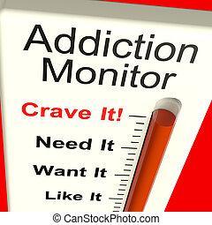verslaving, monitor, optredens, verlangen, en, substantie...
