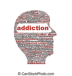 verslaving, symbool, vrijstaand, op wit, achtergrond