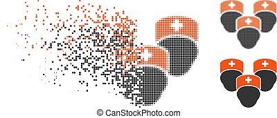 versnippeerd, medisch, halftone, pixelated, pictogram, personeel