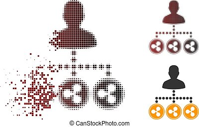 versnippeerd, muntjes, halftone, pixelated, rimpeling, collector, pictogram