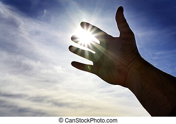 verso, aiuto, cercando, luce, raggiungimento, mano, cielo