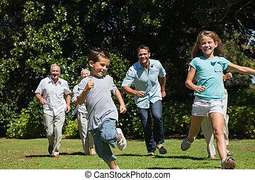 verso, da corsa, macchina fotografica, generazione, multi, famiglia, felice