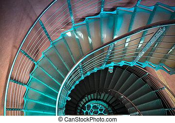 verso il basso, spiraling, scala