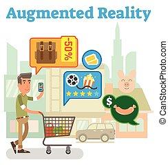 versorgung, augmented, kette, wirklichkeit