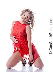 verspielt, junges mädchen, posierend, in, erotisch, rotes , damenunterwäsche