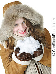 verspielt, winter, m�dchen, besitz, schnee