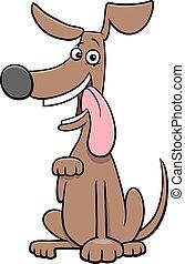 verspielt, zeichen, karikatur, hund, komiker, tier