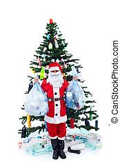 verspild, milieu, concept, -, kerstmis