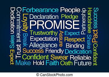 versprechen, wort, wolke
