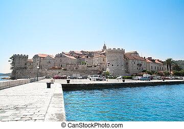 verstärkt, kroatien, stadt, korcula
