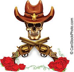 verstand, hoedje, schedel, sheriff, cowboy