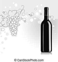 verstand, realistisch, vector, fles, wijntje
