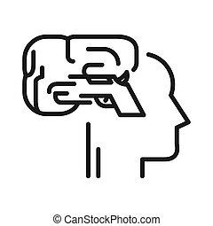 verstand, trekker, ontwerp, illustratie