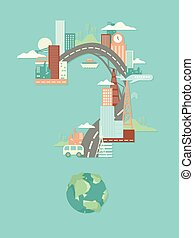 verstedelijking, vraag, illustratie, mark