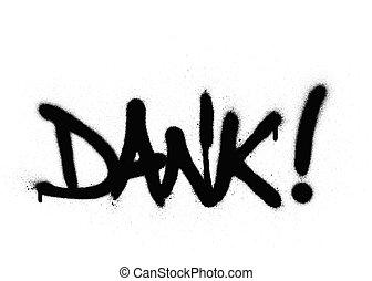 verstoven, woord, op, graffiti, dank, witte , black
