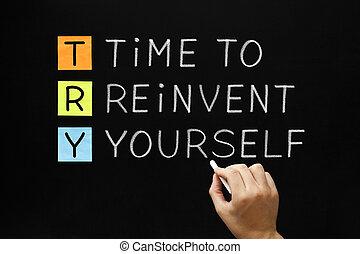 versuch, zeit, -, reinvent, sich