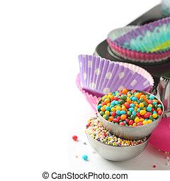 versuikeren, bestrooit, met, cupcake, gevallen, en, bakken,...