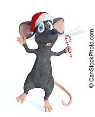 versuikeren, kerstmis, vasthouden, muis, spotprent, cane.
