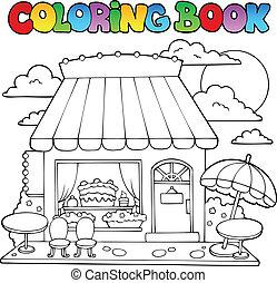 versuikeren, kleurend boek, winkel, spotprent