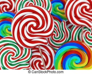 versuikeren, lollipop, illustratie, 3d