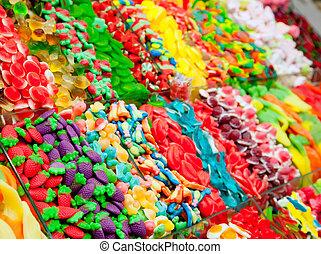 versuikeren, zoetigheden, gelei, in, kleurrijke, display