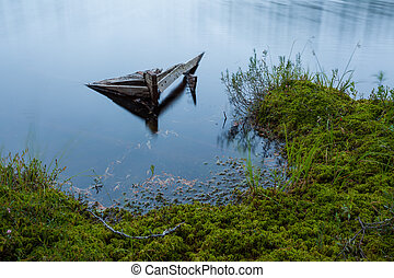 versunken, rowboat, verlassen, in, klein, waldsee