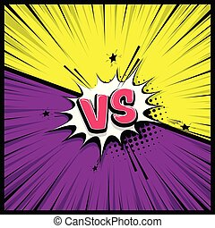 Silhouette boom explosion. Speech bubble box balloon. Versus comic text. Comics book empty colored template background. Pop art colorful backdrop mock up. Vector illustration halftone dot chat.