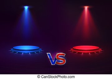 Versus concept. Glowing pedestal hologram, game match VS background, MMA competition contest. Vector versus template