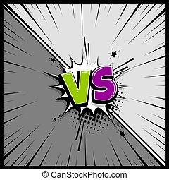 Pop art monochrome manga backdrop mockup. Vector illustration halftone dot. Fight boom explosion. Speech bubble box balloon. Versus comic text. Comics book empty colored template background.