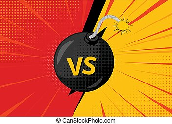 Versus letters figh background in pop art style. Vector...