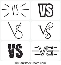 Set of versus letters logo. Bkack letters V and S flat style symbol.