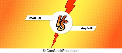 Versus screen. Banner of comparison with letters VS on expressive background with halftone effect. Versus template for sports events, challenge or contest. Vector poster with lightning for superhero.