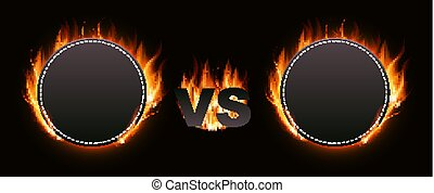 Versus Screen with Fire Vector Illustration