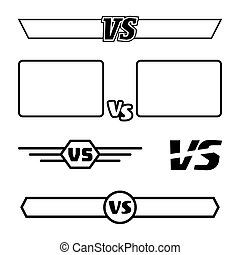 Versus Vector Symbol Set. VS Letters And Frames. Isolated On White Background. Competition Concept. Fight Confrontation Design