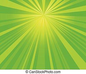 vert, éclater, starburst, rayons, fond, vecteur, conception