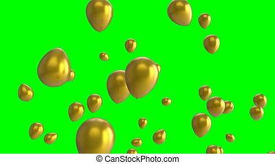 vert, écran, ballons