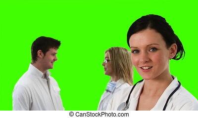 vert, écran, conversation, métrage, médecins
