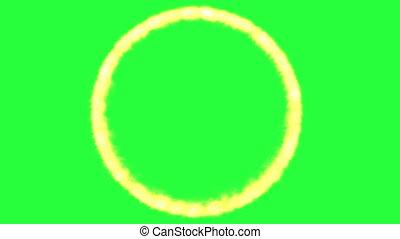 vert, écran, flamme, cercle