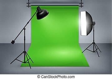 vert, écran, studio, pellicule