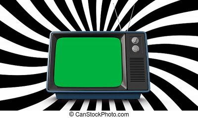 vert, écran télévision