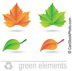 vert, éléments, conception