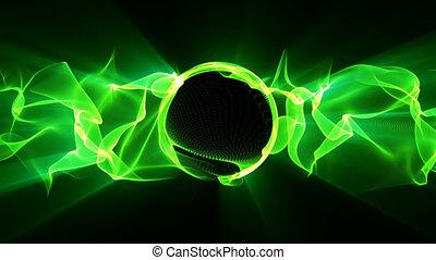 vert, électrique, vague