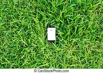 vert, énergie, concept, :, sortie, dans, herbe