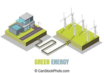 vert, énergie, concept, vecteur, isométrique, illustration