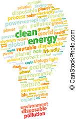 vert, énergie, mot, propre, nuage